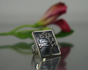 Handmade jewelry, silver ring, flower ring, silver jewelry, exclusive jewelry, gift for her, design ring, exclusive ring, fashion ring.