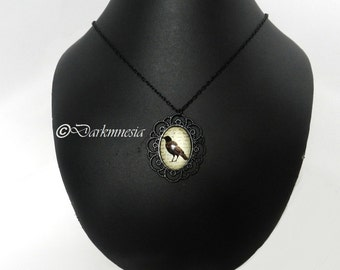 Black necklace, pendant, medallion, lace, raven, bird, goth, gothic, victorian, Edgar Allan Poe