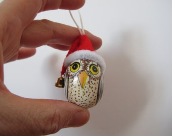 OWL with Santa Claus hat hanging-hand painted on wooden egg-collectibles-Christmas gift