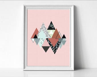 Triangle Abstract Print, Art Poster, Large Poster, Minimal , Art Decor, Geometric abstraction, Geometric art print