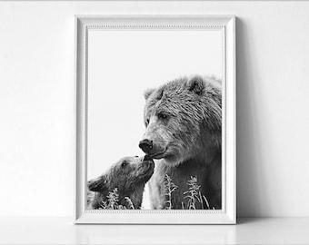 Bear Wall art , Woodlands Nursery Decor, Bear Mother Print, Baby Bear Print, Wall Art, Animals Print, Black & White, Bear, Home Decor