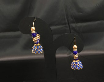 Royal Blue Indian Earrings - Indian Jewelry - Indian Bridal Jewelry - Indian Wedding Jewelry - Kundan Jewelry - Temple Jewelry - Lightweight