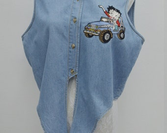 BETTY BOOP  Vintage BETTY Boop Jeans Vest Size Women's L