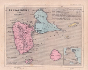 french vintage. Detailed map of the Department of GUADELOUPE and its dependencies (Islands). 1880 colors. Beautiful details. France.