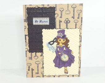 Be Brave Steampunk Inspired Handmade Card | OOAK Hand Stamped Greeting Card | Inspirational Hand Crafted Greeting Card | All Occasion Card