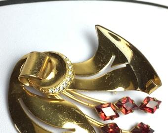 Decoratif - vintage brooch - sterling silver & rhinestone - 1940s