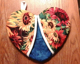 Sunflower, yellow and blue heart shape potholder