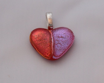 Pink and Blue/Purple Dichroic Glass Heart Pendant Valentine!