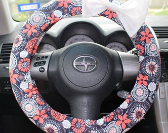 Navy and Coral floral Steering Wheel cover with bow pin -cute car decor, affordable, accessories, comfortable, girl gift, gift for her