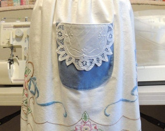 Beautiful vintage apron made from embroidered/crocheted tablecloth
