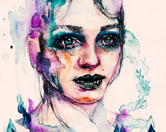 A6 watercolor surreal water girl painting | magical underwater fishes aquarius woman potrait | Print
