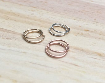 8mm Gold cartilage ring, 20g Nose ring hoop, Rose gold hoop earrings, 6mm gold hoop cartilage earring set Tiny gold hoop earring Silver 10mm