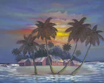Beach Night Painting, Sunset Beach, Seascape, Island Landscape, Caribbean Art Dominican, Beach Decor, Palm Tree, Original Oil Painting 30x40