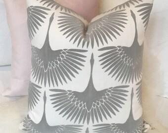 White & Gray Throw Pillow in Flocked Velvet Bird Print w/ Brass Zipper