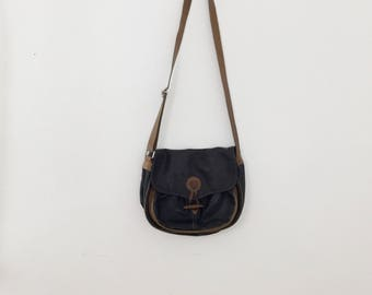 Vintage Black / Brown Leather Crossbody Purse