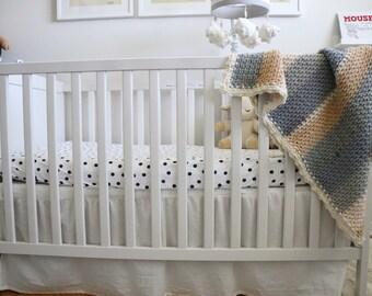 Crochet Baby Blanket Modern Stripes