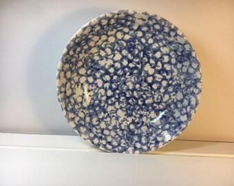 "Vintage Blue Spongeware Bowl Bella Ceramica Bowl Dish Cereal Bowl, Ceramic Pottery Spatter Kitchenware, Made in China, 7 7/8"""