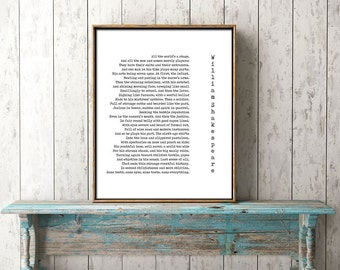Literary Art Quotes, Literary Poster Gift, William Shakespeare Art, Literary Quote Print, All The World's A Stage, poetry quote art