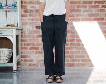 Navy Linen Relaxed Style Pants. Women's Drawstring Straight leg Trousers.