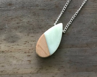 Wood & Resin Necklace - Teardrop #1
