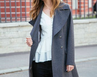 Gray military coat double breasted classic ladies wool coat trench coat grey military jacket womens overcoat