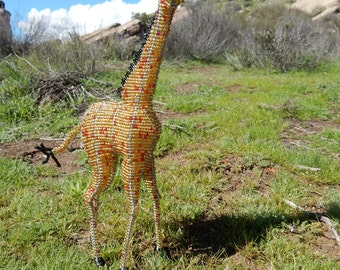 African Giraffe wire and glass beaded sculpture