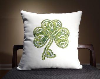 Irish Decor, Green Shamrock Pillows, Shamrock Cushions, Green Clover Pillows, Clover Cushions, Irish Style, St Patricks Day