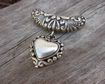 Vintage sterling silver heart pendant // Large hole slider necklace // Heart necklace