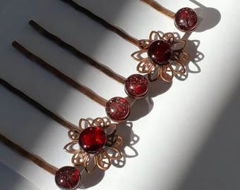 Set of 6 bobby pins with garnet color kiln fused glass and flower pins with dichroic glass set in standard length top quality pins