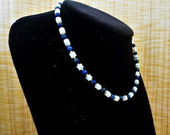 Lapis & Pearl Necklace. Lapis Lazuli Necklace. Pearl Necklace. Blue Necklace. White Necklace. Silver Necklace. Greek Necklace. Gift for her.