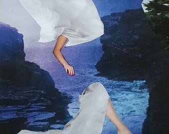 """Collage """"The night"""", photo collage, collage art, picture collage, surreal art, surrealism, wall collage, wall art"""