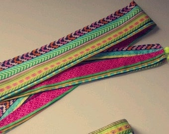 bright neon printed headscarf