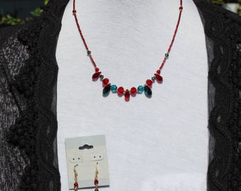 Teal and Dark Red Swarovski Crystal Necklace and Earring Set, Bridesmaid, Wedding, Prom, Quinceanera, Bling, Princess