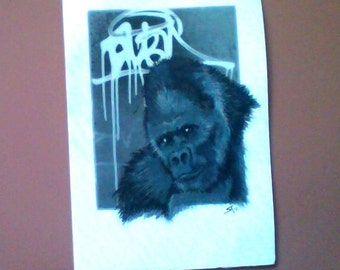 Gorilla mixed media print