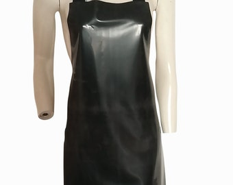 Pure Latex Rubber Apron Black Sissy Roleplay Overall Waterproof Pinny