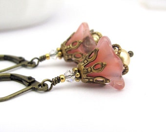 Fairy Woodland Flower Earrings Peach Pink, Swarovski Pearls Antiqued Brass, Dangle Drop, Clip On Earrings