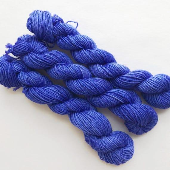 periwinkle / hand dyed yarn / mini skein / sock fingering yarn / merino wool superwash / embroidery / 4 ply /sparkle / purple blue yarn