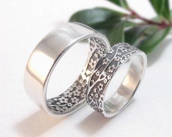Wedding Ring Set Wedding Band Set Cherry Blossom Sakura Sterling Silver Mens Wedding Band Womens Wedding Band Womens Wedding Ring - No Tabs