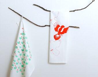 G I F T  P A C K  x 2   -Hand Screen Printed - Tea Towel - Bird + Agave