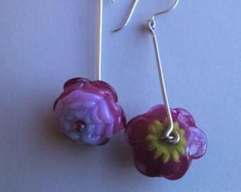 Lampworked glass flower earrings