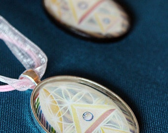 Crystal Pyramid - Art Pendant Cabochon Necklace by Ishka Lha