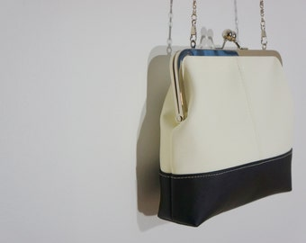 Charlie clutch (white & black faux leather)