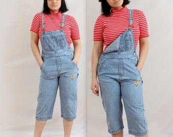 90's Flower Power Capri Overall Pants in Small or Medium . Summer Romper Playsuit . Tight Fitting sexy . denim jumpsuit blue jeans . juniors