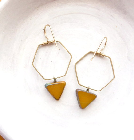 Hexagon Earrings > Mustard