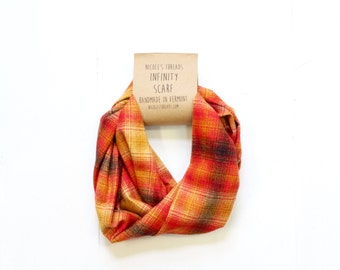 Infinity Scarf - Plaid - Flannel - Oversized - Red, Gold, Black - Warm - Winter- Cozy - Unisex - Gray