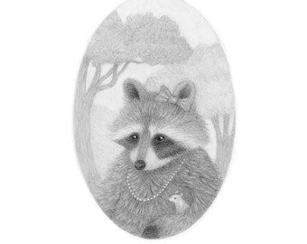 Raccoon Drawing Art Pencil Black and White Nature Cute