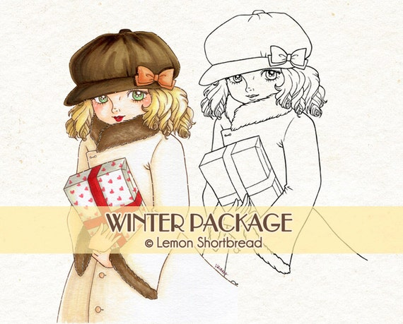Digital Stamp Winter Package Gift, Digi Christmas Present Girl, Fashion, Coloring Page, Clip Art, Scrapbooking Supplies, Instant download