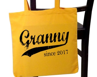 Granny since ANY year, screen print tote bag, Christmas gift, personalized gift, granny tote bag, new grandmother gift
