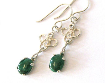 Green Malachite Earrings, Celtic Knot Triquetra, Trinity Knot, Gemstone Cabochons, Sterling Silver Dangle Earrings