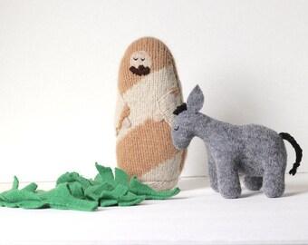 Jesus, Donkey and Palms Doll Set // Palm Sunday Doll Set // Easter Doll Set // Lent for Children